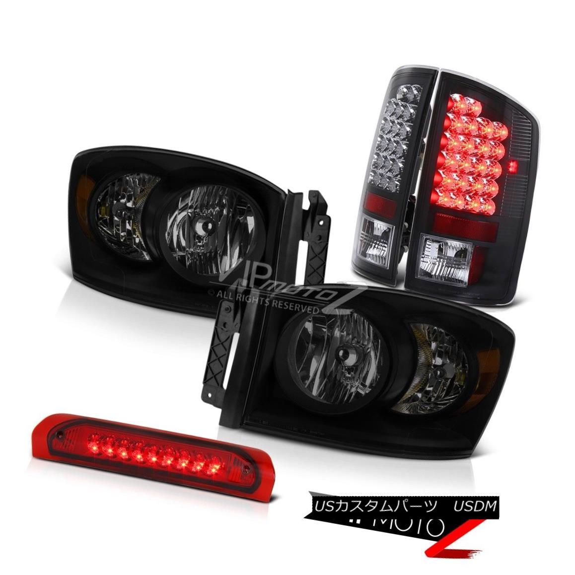 ヘッドライト 2006 Ram 5.7L Darkest Smoke Headlights High Stop Lamp Black Tail Lamps LED SMD 2006ラム5.7L暗い煙ヘッドライトハイストップランプ黒テールランプLED SMD