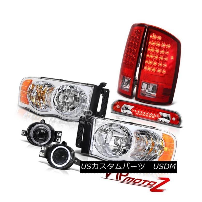 ヘッドライト 02-05 Dodge Ram Euro Headlights Red LED Tail Lights Projector Chrome Fog Roof 02-05 Dodge Ramユーロヘッドライト赤色LEDテールライトプロジェクターChrome Fog Roof