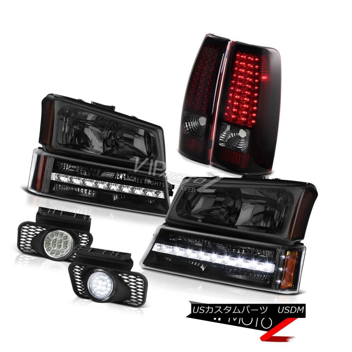 ヘッドライト 03-06 Silverado Chrome foglights smokey red tail lights parking lamp headlamps 03-06 Silveradoクロームフォグライトは、赤い尾灯を駐車した灯火を灯した