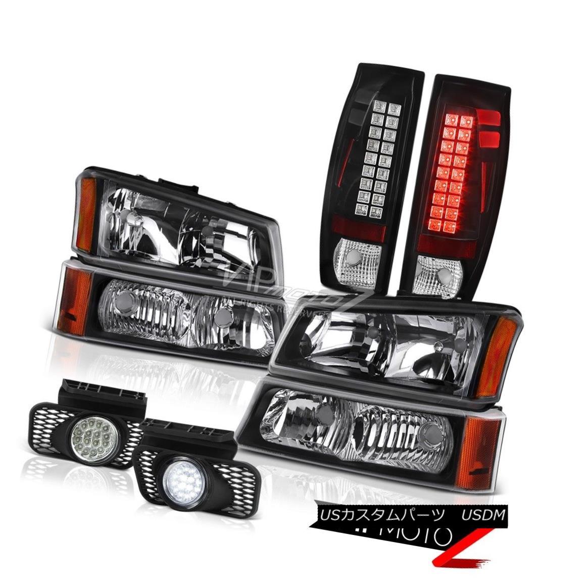 ヘッドライト 03-06 Chevy Avalanche Euro Clear Fog Lights Matte Black Rear Brake Headlights 03-06 Chevy Avalancheユーロクリアフォグライトマットブラックリアブレーキヘッドライト