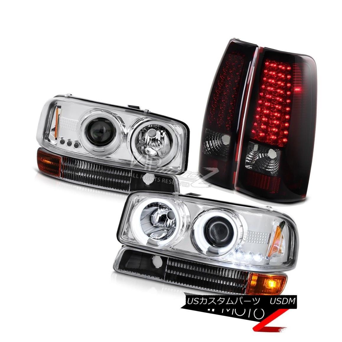 ヘッドライト 1999 2000 2001 2002 2003 Sierra 6.0L CCFL Halo Headlight Dark RED LED Tail Light 1999 2000 2001 2002 2003シエラ6.0L CCFLハローヘッドライトダークレッドLEDテールライト