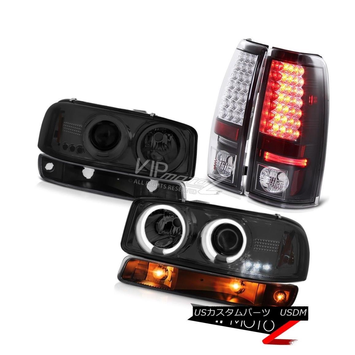 ヘッドライト 1999-2002 Sierra SLE Matte black smd taillamps bumper lamp smokey ccfl headlamps 1999-2002シエラSLEマットブラックsmdテールランプバンパーランプスモーキーccflヘッドライト
