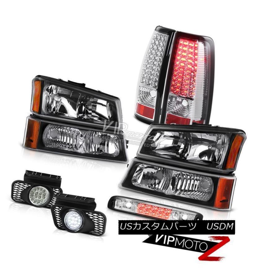 ヘッドライト 03 04 05 06 Silverado 2500Hd Black Headlights 3RD Brake Light Fog Lights Tail 03 04 05 06 Silverado 2500Hdブラックヘッドライト3RDブレーキライトフォグライトテール