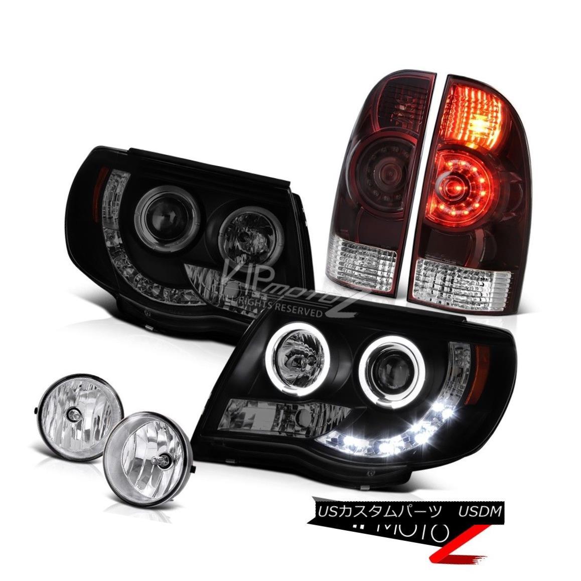 ヘッドライト 05-11 Tacoma 4.0L Taillamps dark tinted headlamps chrome foglamps LED Dual Halo 05-11タコマ4.0LタイルランプダークトーンヘッドランプクロムフォグランプLEDデュアルヘイロー