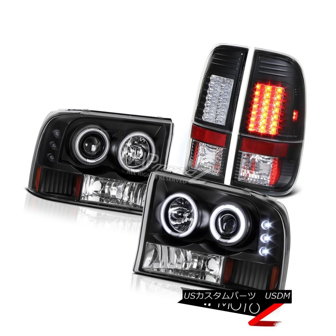 ヘッドライト Black 1PC HaLo Projector {CCFL} Headlight+LED Tail Light 99-04 Ford F250/F350 V8 ブラック1PCハロープロジェクター(CCFL)ヘッドライト+ LEDテールライト99-04 Ford F250 / F350 V8