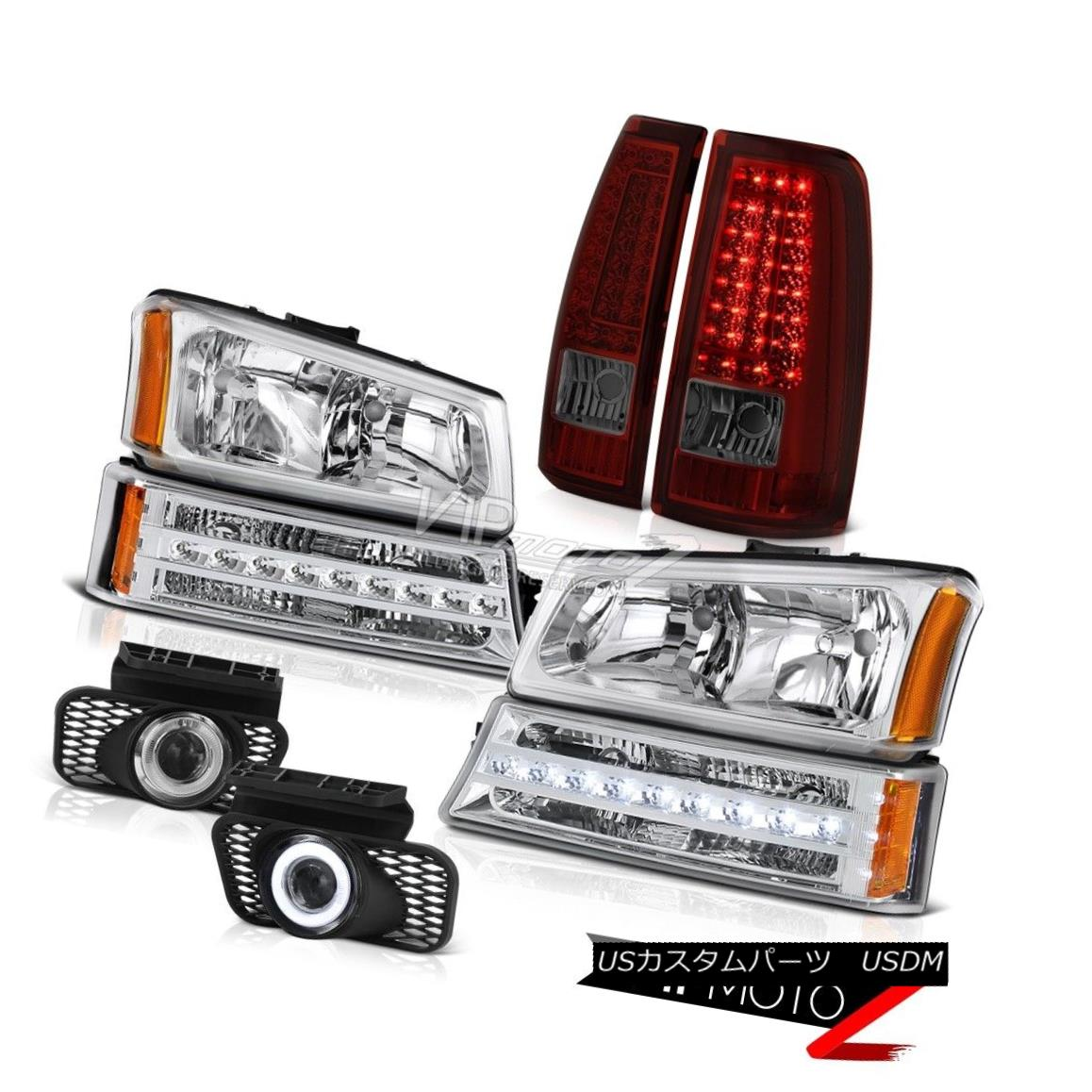 ヘッドライト 2003-2006 Silverado Chrome Fog Lights Rosso Burgundy Tail Turn Signal Headlights 2003-2006 Silverado ChromeフォグライトRosso Burgundyテールターンシグナルヘッドライト
