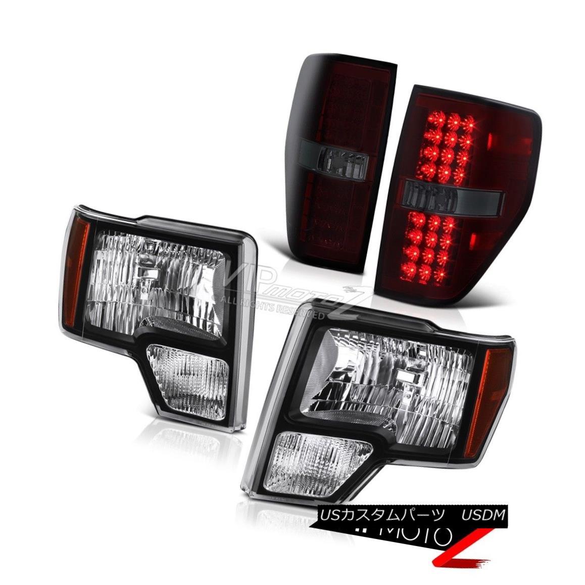 ヘッドライト 09-14 F150 Pickup XL/XLT/STX Black/Amber Headlamp+SMOKEY RED LED Tail Light Lamp 09-14 F150ピックアップXL / XLT / STXブラック/アンバーヘッドランプ+ SMOKE  YレッドLEDテールライトランプ