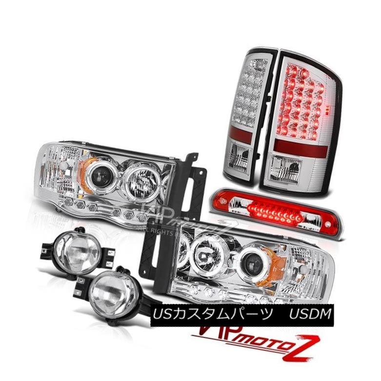 ヘッドライト 02-05 Ram 1500 Chrome Projector Headlamps LED Tail Lights Euro Fog Third Brake 02-05ラム1500クロームプロジェクターヘッドランプLEDテールライトユーロフォグ第3ブレーキ