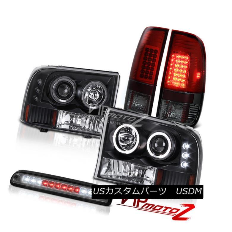 ヘッドライト L.E.D DRL Halo Headlight Stop LED Smoke Smokey Red Tail Light 99-04 F350 7.3L L.E.D DRLハローヘッドライトストップLED煙スモーキーレッドテールライト99-04 F350 7.3L