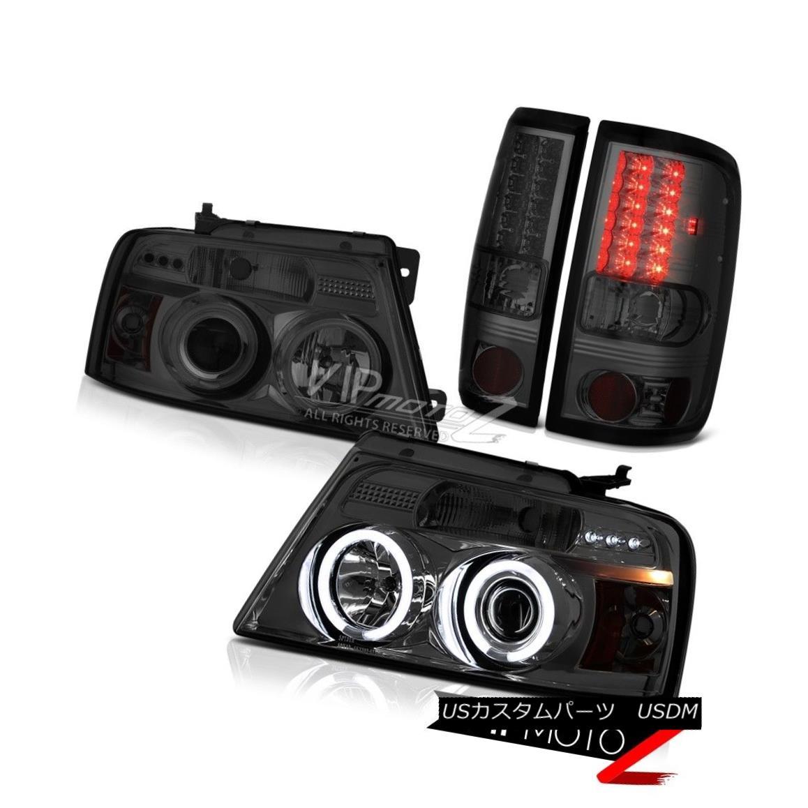 ヘッドライト 2004-2008 Ford F150 Truck Smoke L.E.D Rear Tail Lights CCFL Halo Rim Headlights 2004-2008フォードF150トラックスモークL.E.DリアテールライトCCFL Halo Rimヘッドライト