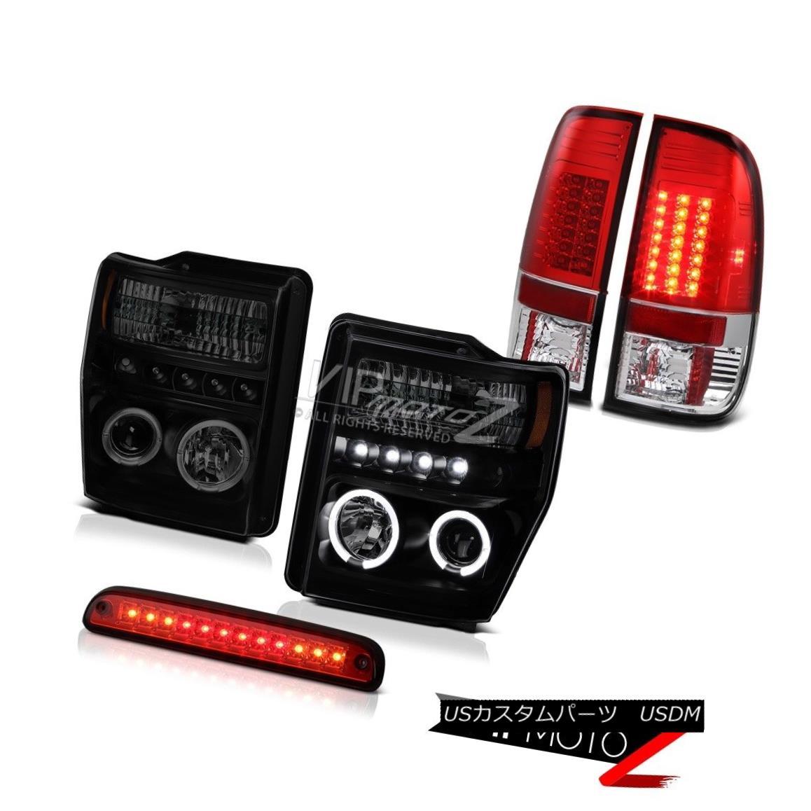 ヘッドライト Halo Ring LED Headlights Roof Brake Red Tail Lights 2008-2010 Ford F250 F350 FX4 ハローリングLEDヘッドライトルーフブレーキ赤テールライト2008-2010 Ford F250 F350 FX4