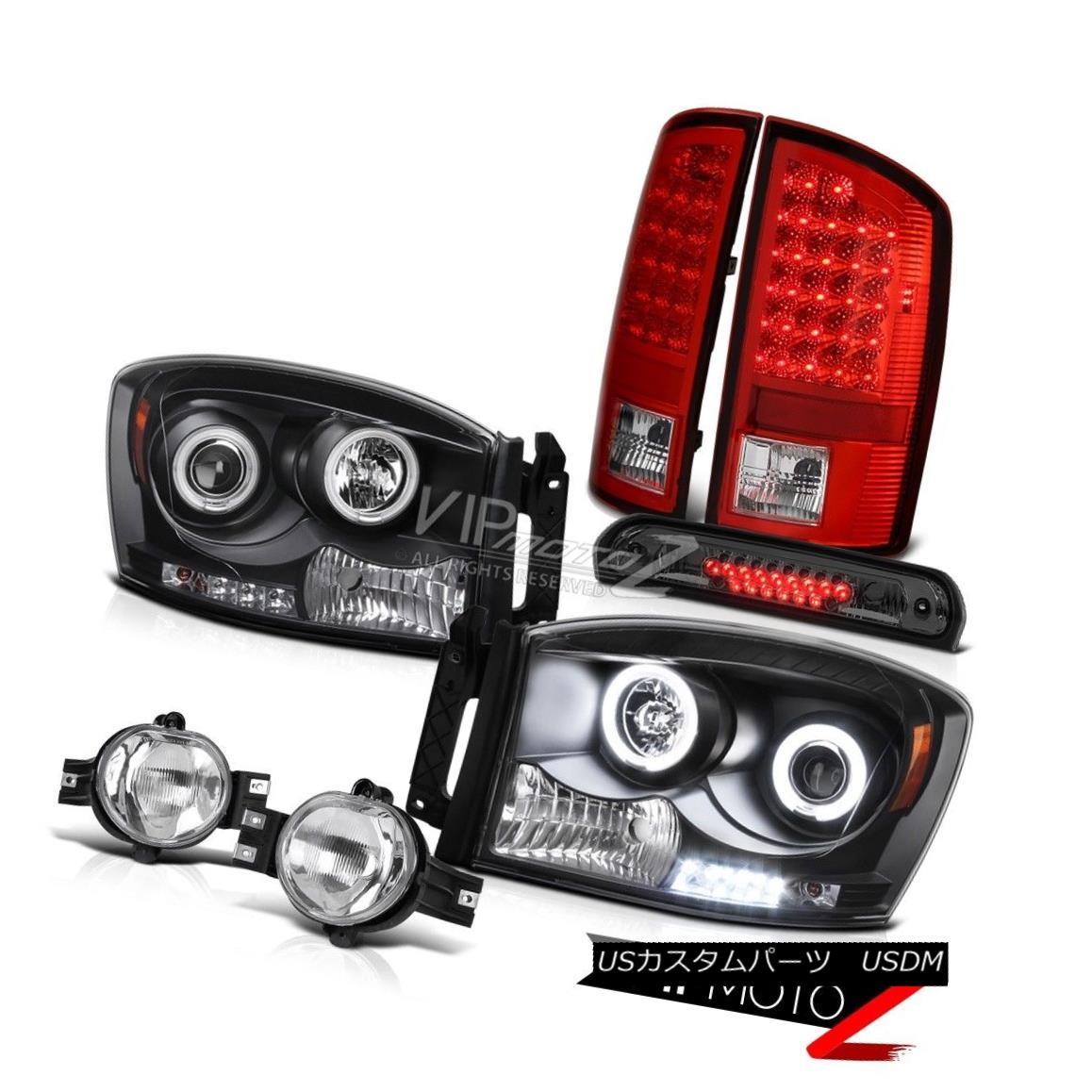 ヘッドライト 2006 Dodge Ram Magnum V8 Black CCFL Headlights RED LED Tail Lights Fog Cargo 2006ダッジラムマグナムV8ブラックCCFLヘッドライトRED LEDテールライトフォグカーゴ