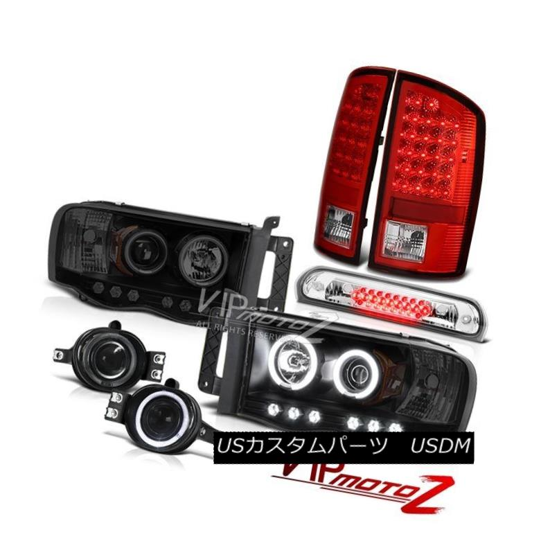 ヘッドライト 02-05 Ram V8 Headlights Sinister Black CCFL Rim LH+RH LED Brake Lights Tint Fog 02-05 Ram V8ヘッドライトSinister Black CCFLリムLH + RH LEDブレーキライトTint Fog