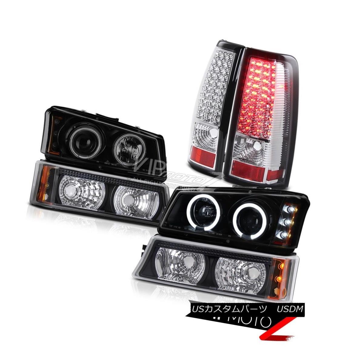 ヘッドライト CCFL Smoke Black Angel Eye Headlamp LED Taillamps 2003-2006 Silverado Vortec Max CCFLスモークブラックエンジェルアイヘッドランプLEDタイルランプ2003-2006 Silverado Vortec Max