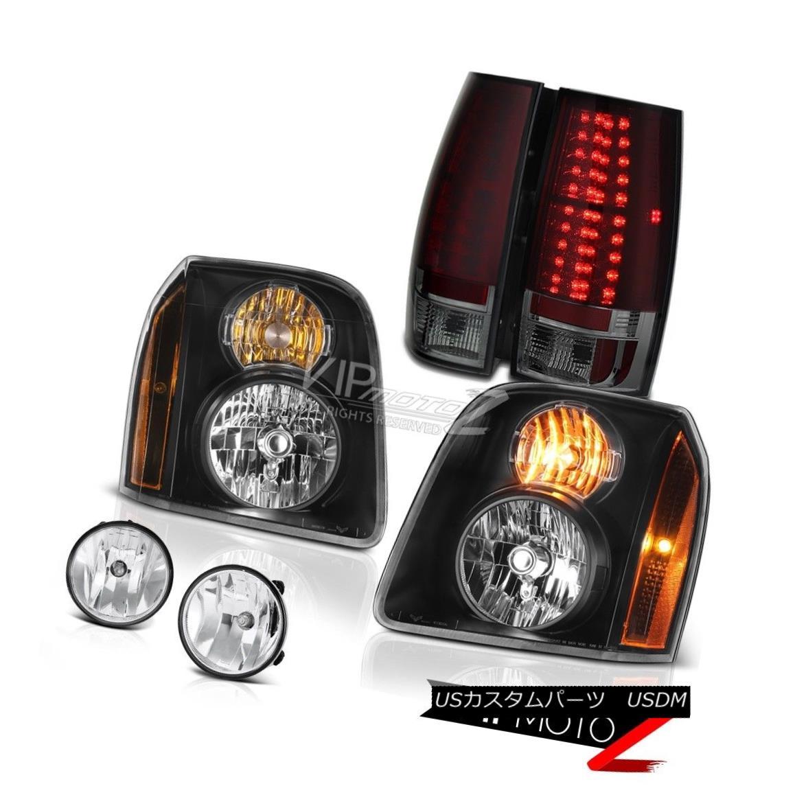 ヘッドライト 07-14 GMC Yukon XL Denali Chrome Fog Lamps Red Smoke Tail Headlights OE Style 07-14 GMCユーコンXLデナリクロームフォグランプ赤煙テールヘッドライトOEスタイル