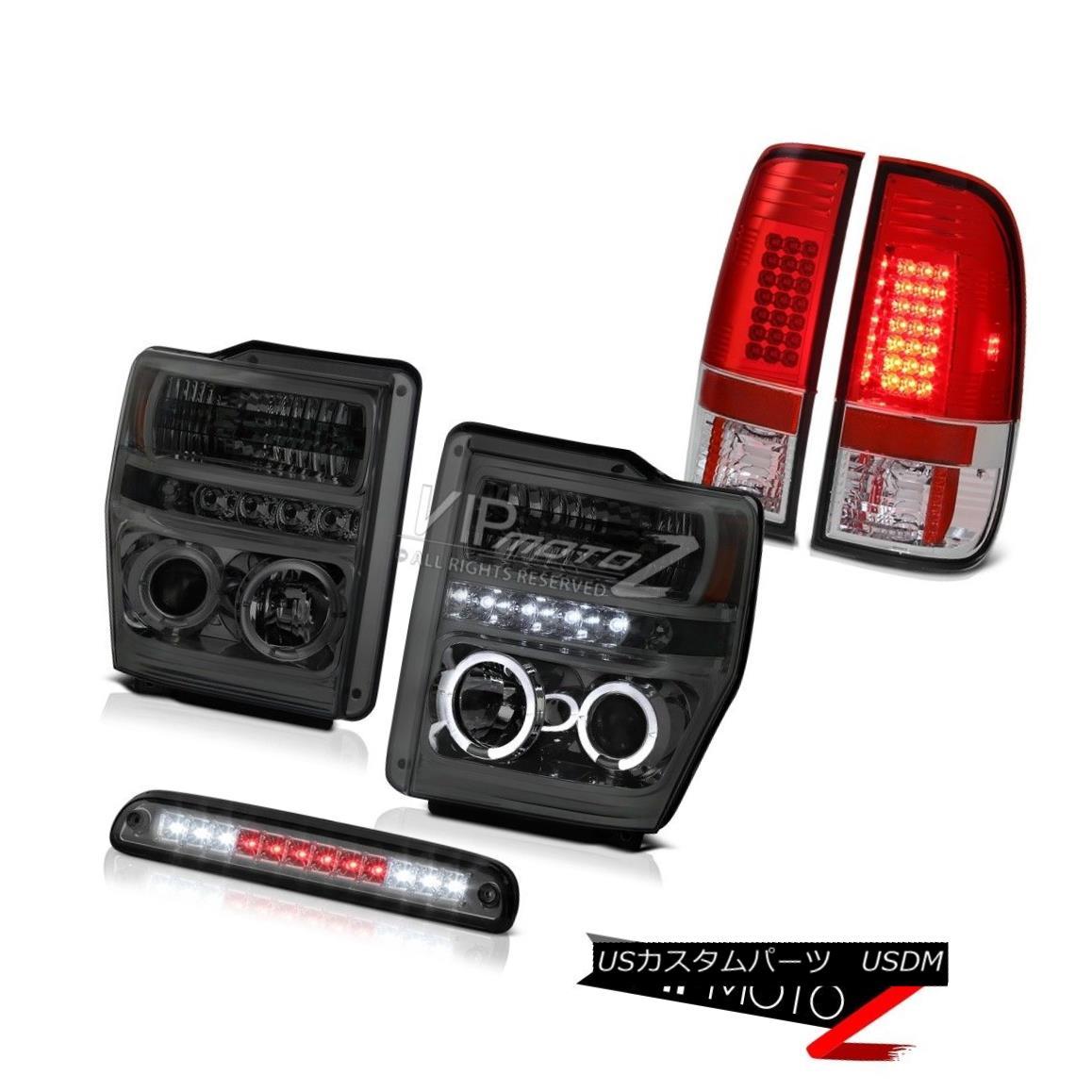 ヘッドライト Smoke Headlight Roof Stop LED Tinted RED Tail Lights Assembly 08 09 10 F250 6.3L スモークヘッドライトルーフストップLED Tinted REDテールライトアセンブリ08 09 10 F250 6.3L