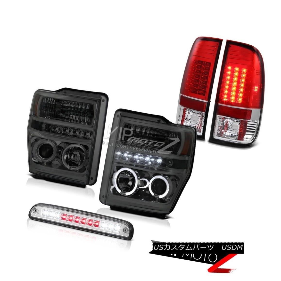 ヘッドライト Smoke Projector Headlight Roof Stop LED Clear Tail Light 2008 2009 2010 F350 XL 煙プロジェクターヘッドライトルーフストップLEDクリアテールライト2008 2009 2010 F350 XL