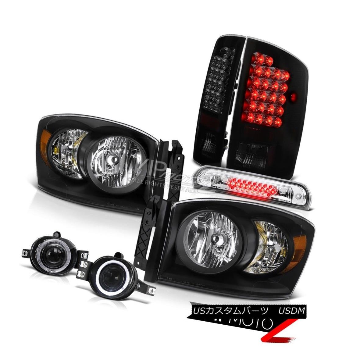 ヘッドライト 07 08 Ram V8 Clear/Black Headlight Sinister Black LED Taillights Fog Third Brake 07 08ラムV8クリア/ブラックヘッドライト不快なブラックLED曇り霧フォードサードブレーキ