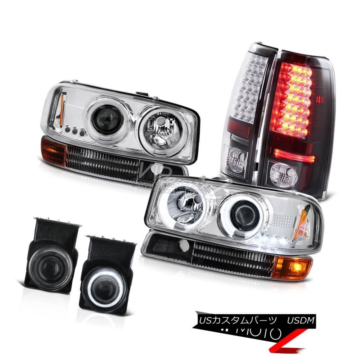 ヘッドライト Matte Black Signal 2003 Sierra 3500HD CCFL Headlight SMD Tail Lights Bumper Fog マットブラック信号2003 Sierra 3500HD CCFLヘッドライトSMDテールライトバンパーフォグ