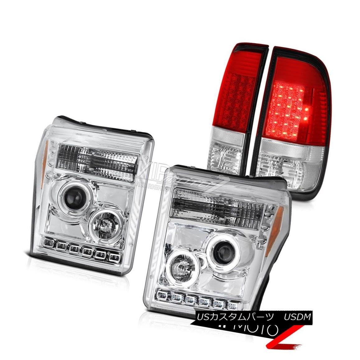 ヘッドライト 2011-2016 F350 Lariat Red Rear Brake Lamps Chrome Projector Headlights Halo Rim 2011-2016 F350ラリアートレッドリアブレーキランプクロームプロジェクターヘッドライトハローリム