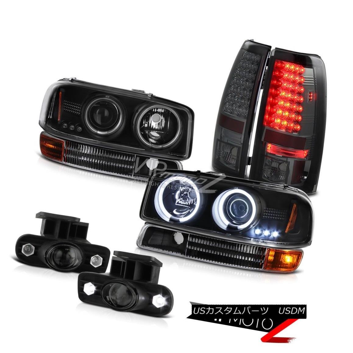 ヘッドライト 99-03 Sierra WT CCFL Angel Eye Projector Headlight LED Brake Tail Light Halo Fog 99-03 Sierra WT CCFLエンジェルアイプロジェクターヘッドライトLEDブレーキテールライトHalo Fog