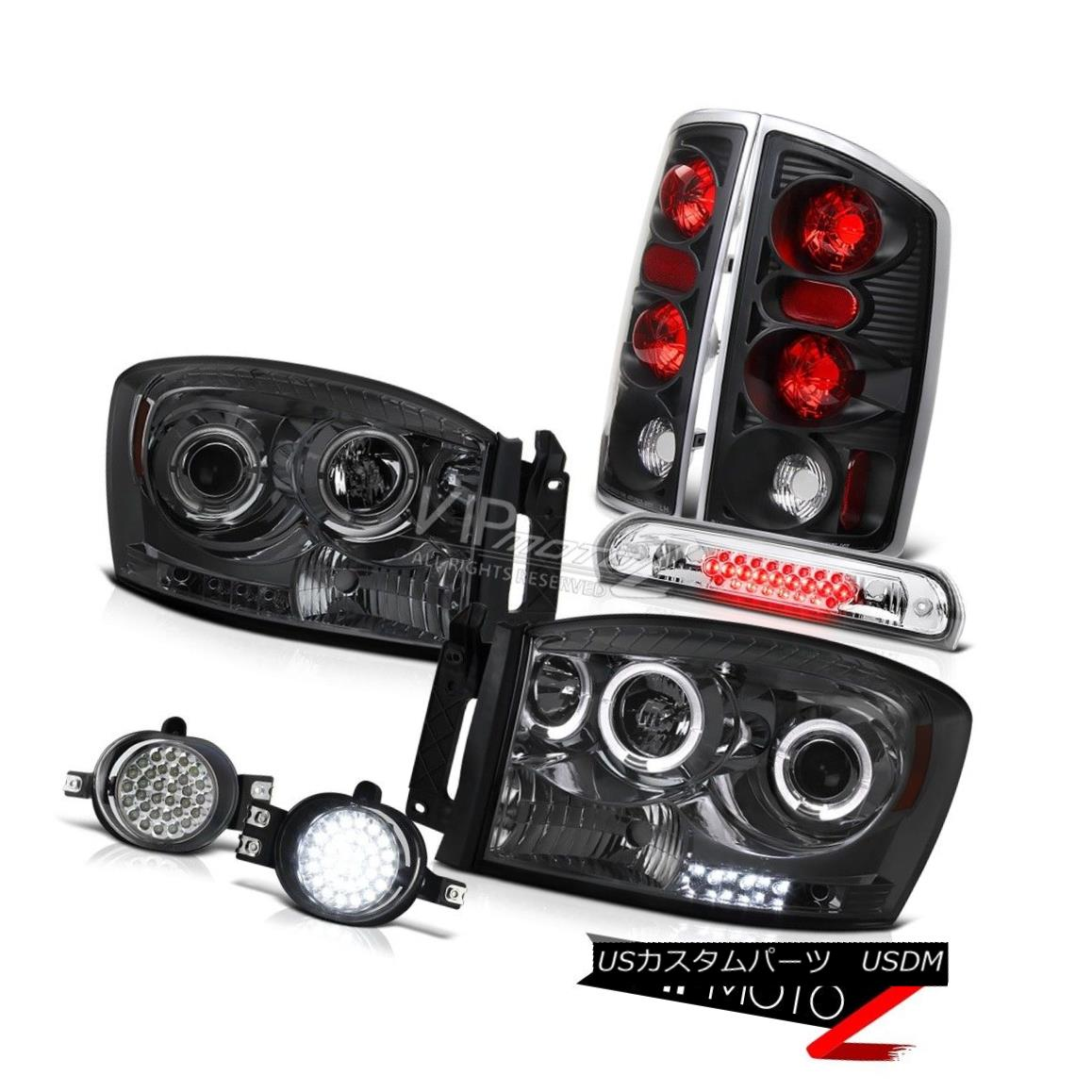 ヘッドライト Smoke LED Halo Headlights Black Tail Lights Brake Cargo 2006 Dodge Ram PowerTech Smoke LED Haloヘッドライトブラックテールライトブレーキカーゴ2006 Dodge Ram PowerTech
