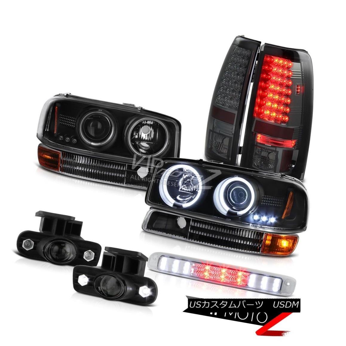 ヘッドライト Black CCFL Ring Headlights Tail Light Foglight High Stop LED Chrome 99-02 Sierra ブラックCCFLリングヘッドライトテールライトFoglightハイストップLED Chrome 99-02 Sierra