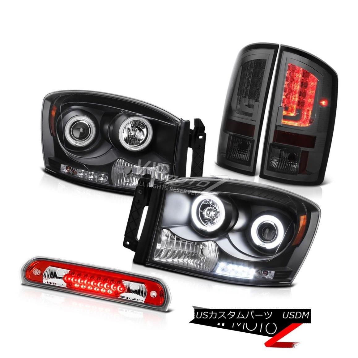 ヘッドライト 07-08 Dodge Ram 1500 SLT Tail Lamps Headlights 3RD Brake Lamp 2X Ccfl Halo LED 07-08 Dodge Ram 1500 SLTテールランプヘッドライト3RDブレーキランプ2X Ccfl Halo LED