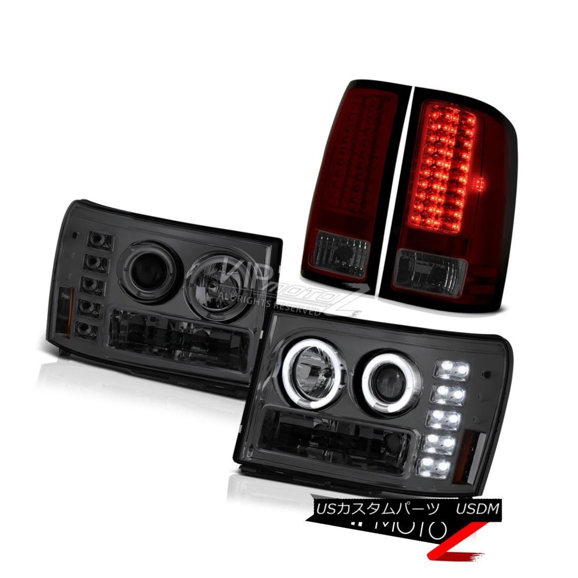 ヘッドライト 07-13 GMC Sierra 6.2L SLT Smoke Halo Headlights SMD