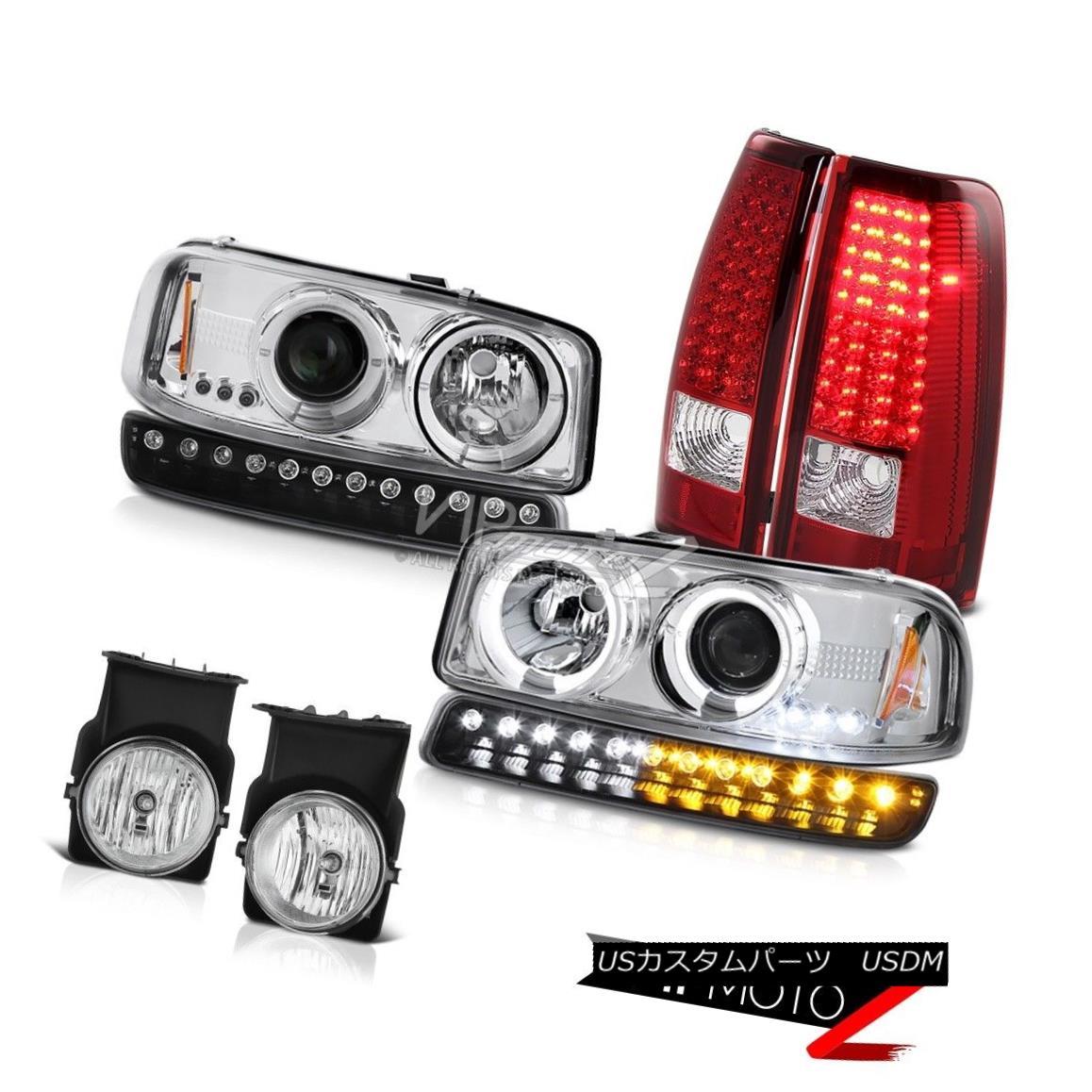 ヘッドライト 03 04 05 06 Sierra C3 Chrome foglights red smd taillamps bumper lamp headlamps 03 04 05 06シエラC3クロームフォグライト赤とテールランプバンパーランプヘッドランプ