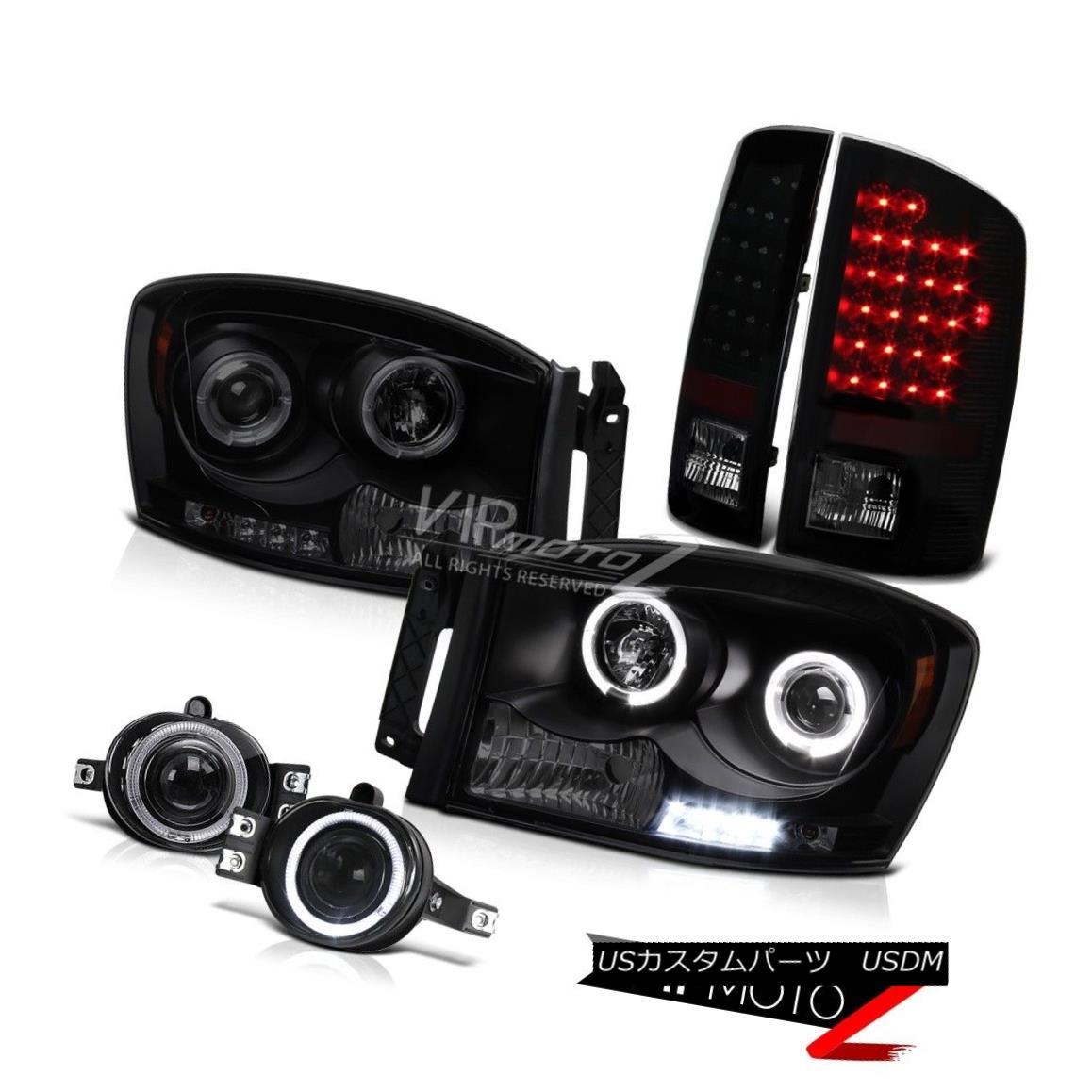 ヘッドライト 2006 Ram 2500 4x4 SMD DRL Sinister Black Headlight Clear Foglight LED Tail Light 2006 Ram 2500 4x4 SMD DRL灰色のヘッドライトクリアFoglight LEDテールライト