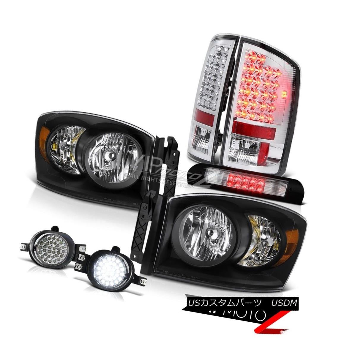 ヘッドライト Black Headlights LED Tail Lights Wiring Fog Roof Stop Clear 2006 Dodge Ram 3500 ブラックヘッドライトLEDテールライトワイヤリングフォグルーフストップクリア2006 Dodge Ram 3500