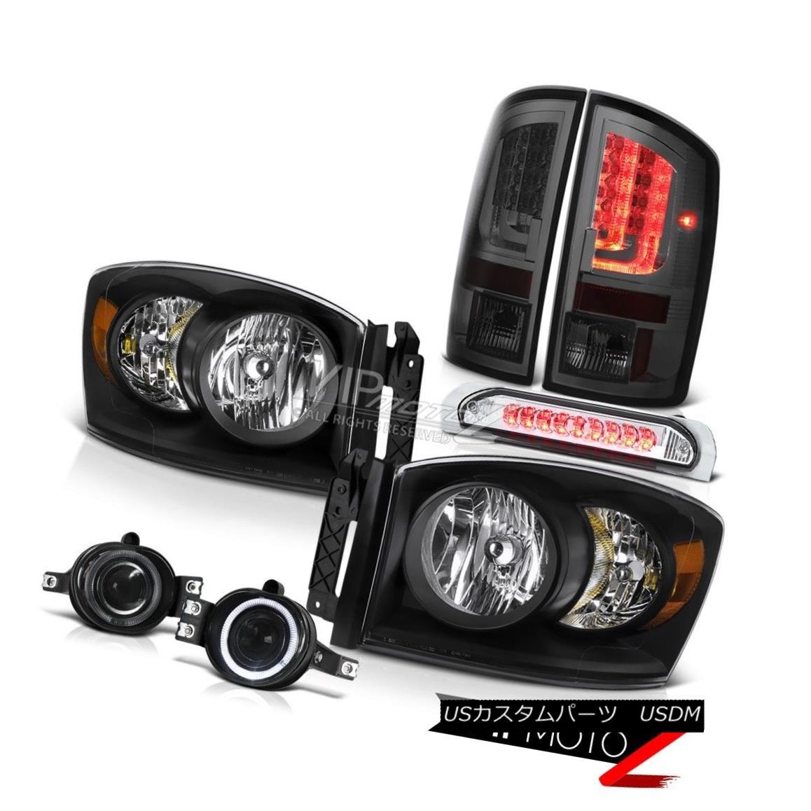ヘッドライト 2006 Ram 4.7L Smokey Tail Brake Lamps Black Headlights Fog 3RD Lamp Tron STyle 2006ラム4.7Lスモーキーテールブレーキランプブラックヘッドライトフォグ3RDランプトロンSTyle