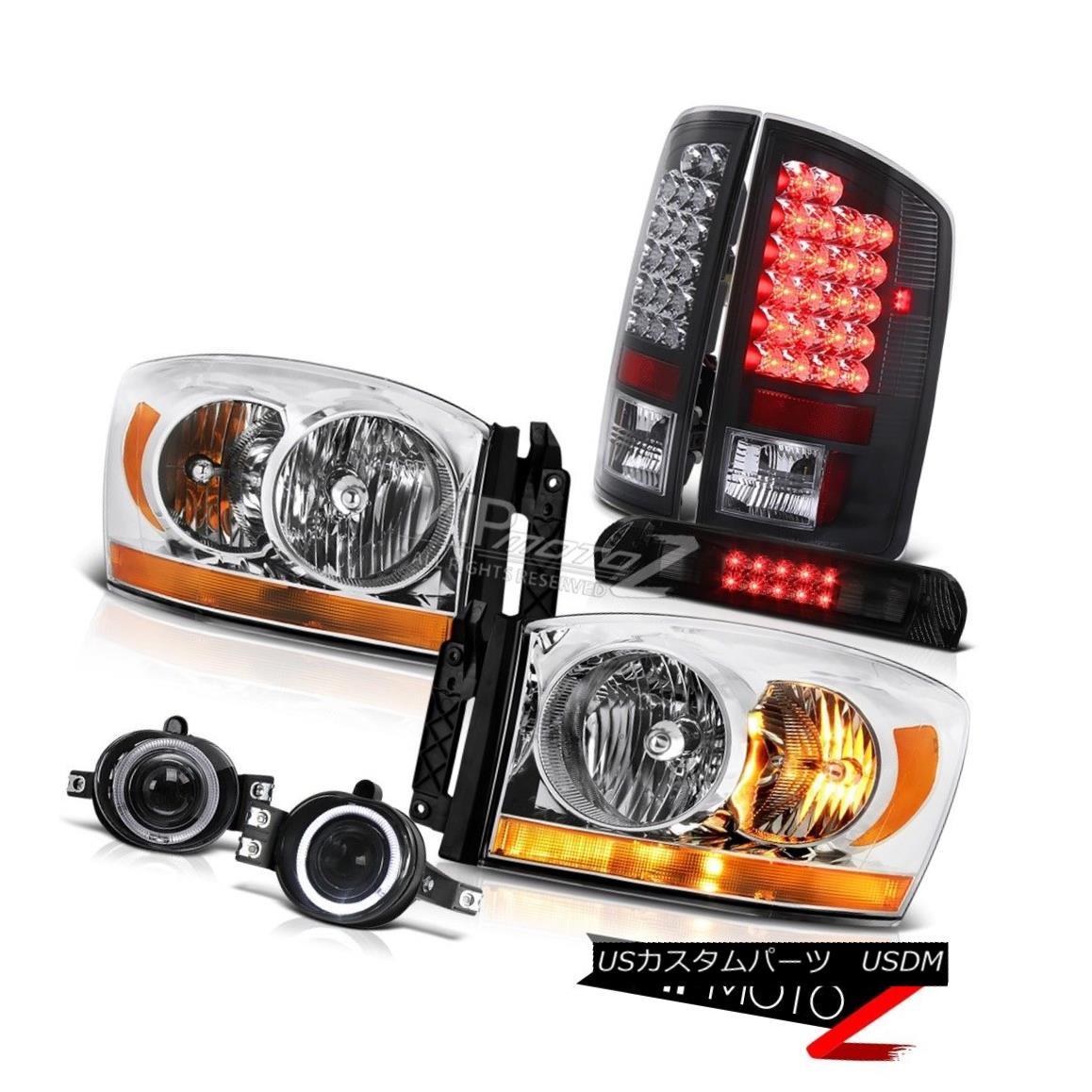 ヘッドライト 07-08 Dodge Ram 1500 5.9L Euro Clear Headlamps Fog Lamps Roof Cab Light Tail 07-08ダッジラム1500 5.9Lユーロクリアヘッドランプフォグランプルーフキャブライトテール