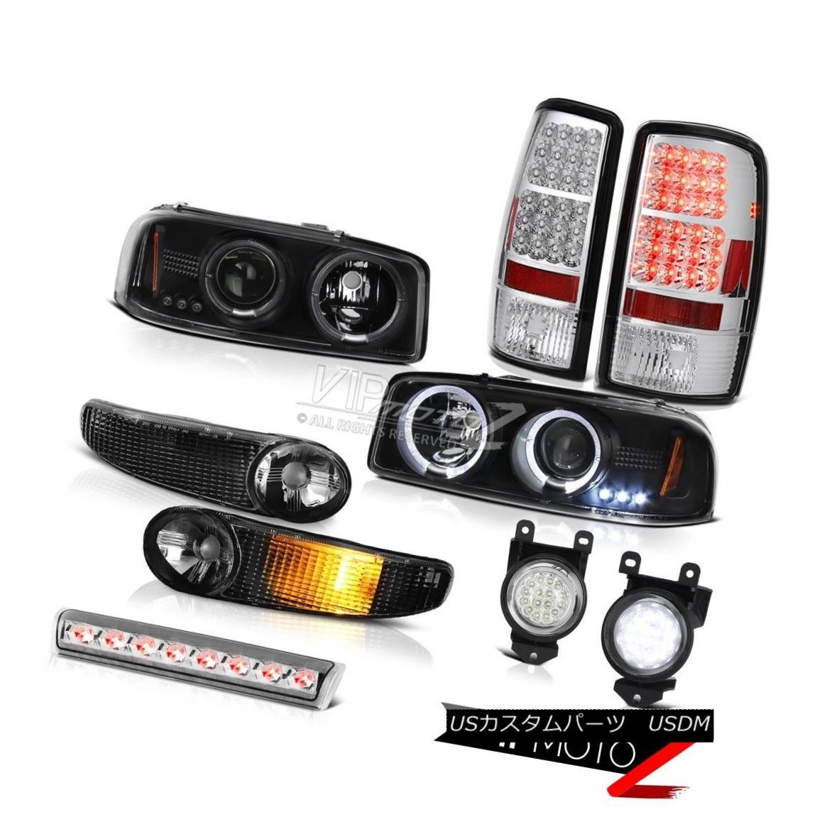 ヘッドライト Black GMC Halo LED 01-06 Yukon Headlights Signal SMD Tail Lights Fog Brake Lamps ブラックGMC Halo LED 01-06ユーコンヘッドライト信号SMDテールライトフォグブレーキランプ