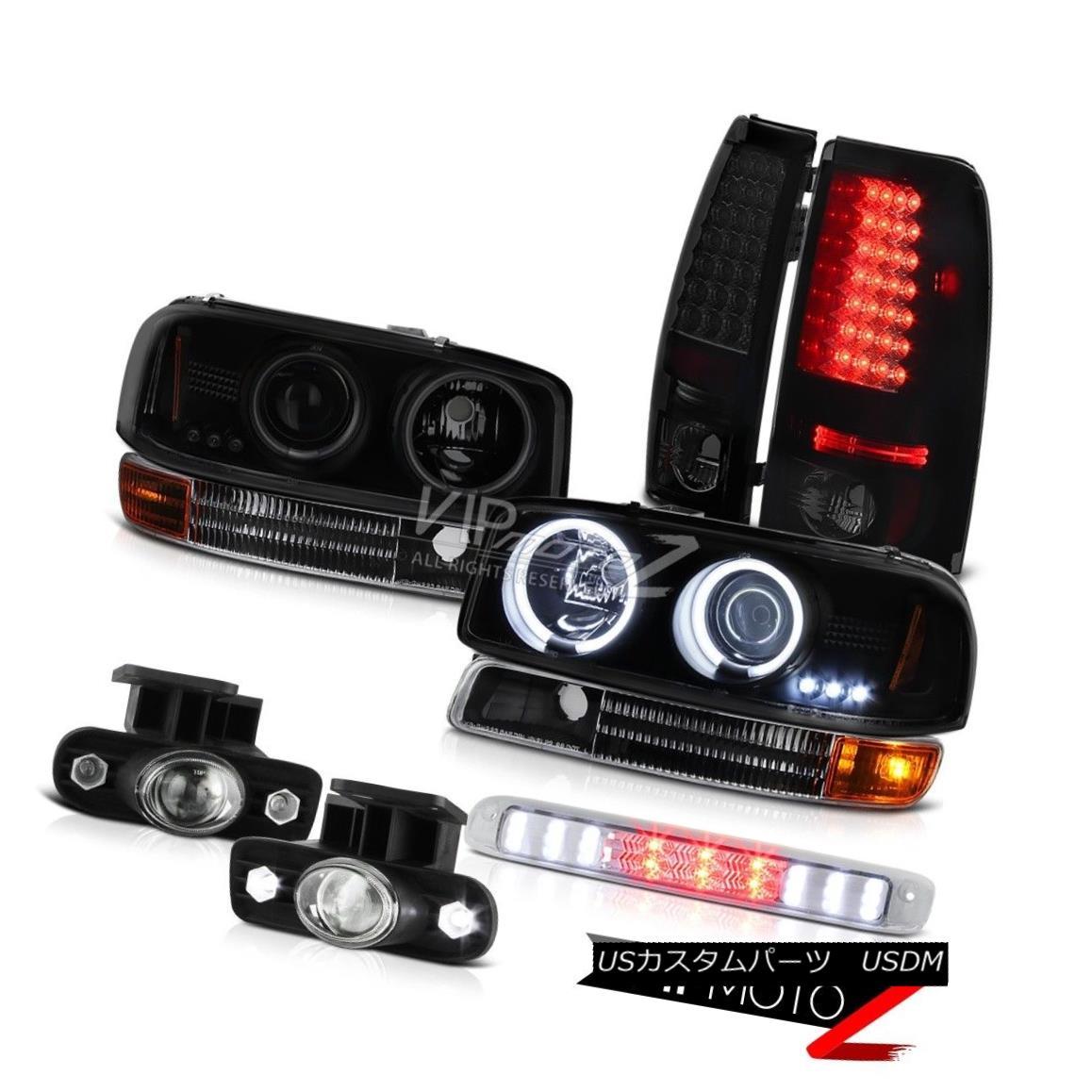ヘッドライト CCFL Angel Eye Headlamps LED Taillamps Glass Fog Roof Stop 99-02 Sierra 4.3L V6 CCFLエンジェルアイヘッドランプLEDタイルランプガラスフォグ屋根ストップ99-02 Sierra 4.3L V6
