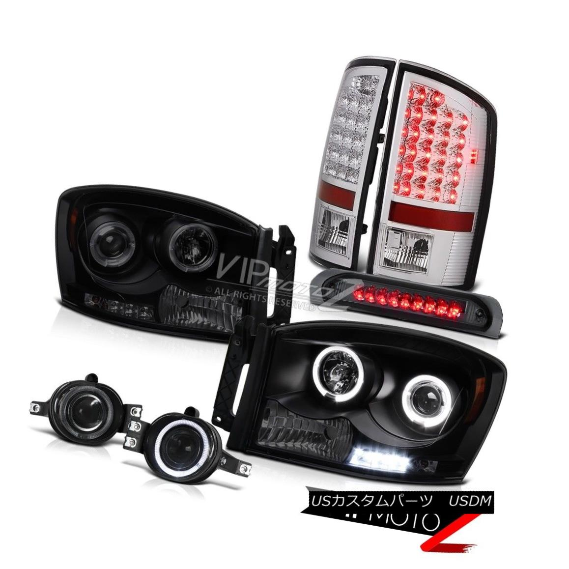 ヘッドライト 2X Angel Eye Headlight Brake Lamp Taillights Foglights Third LED Ram 5.7L 07 08 2XエンジェルアイヘッドライトブレーキランプテールライトFoglights Third LED Ram 5.7L 07 08
