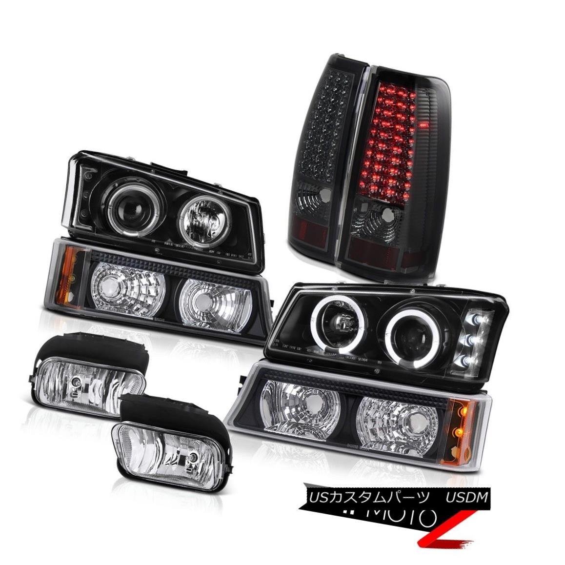 ヘッドライト 2003-2006 Silverado Angel Projector Black Turn Smoke Tail Light Bumper Foglamp 2003-2006シルバラードエンジェルプロジェクターブラックスモークテールライトバンパーフォグライト