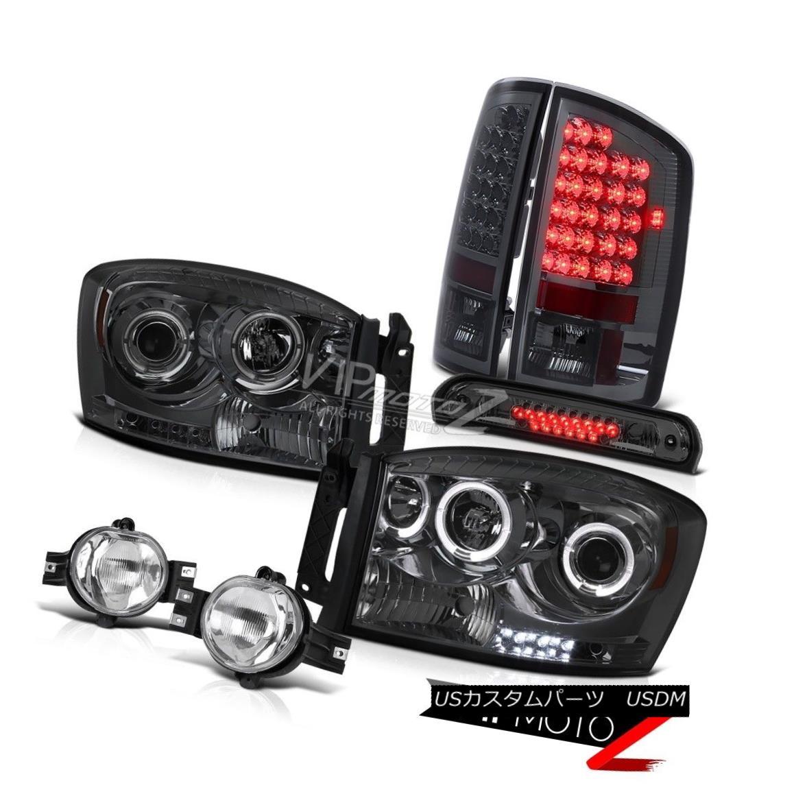 ヘッドライト 07 08 Ram V6 Halo Rim Headlights Smoke LED Taillights Crystal Fog High 3rd Brake 07 08ラムV6ハローリムヘッドライトスモークLEDテールライトクリスタルフォッグハイ3ブレーキ