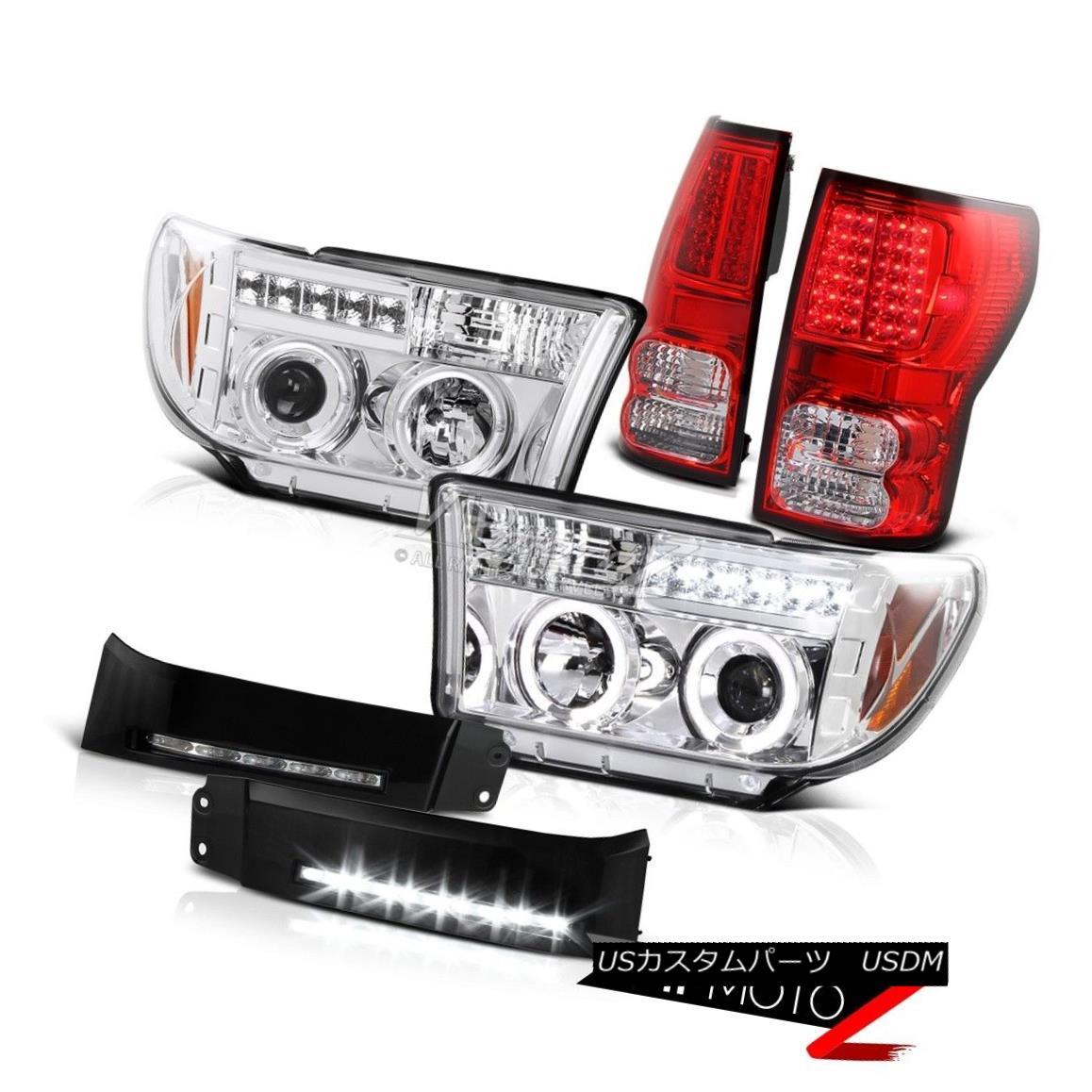 ヘッドライト 07 08 09 10 11 12 13 Toyota Tundra Chrome SMD Rear Lamp Halo Headlights DRL LED 07 08 09 10 11 12 13トヨタトンドラクロムSMDリアライトHaloヘッドライトDRL LED