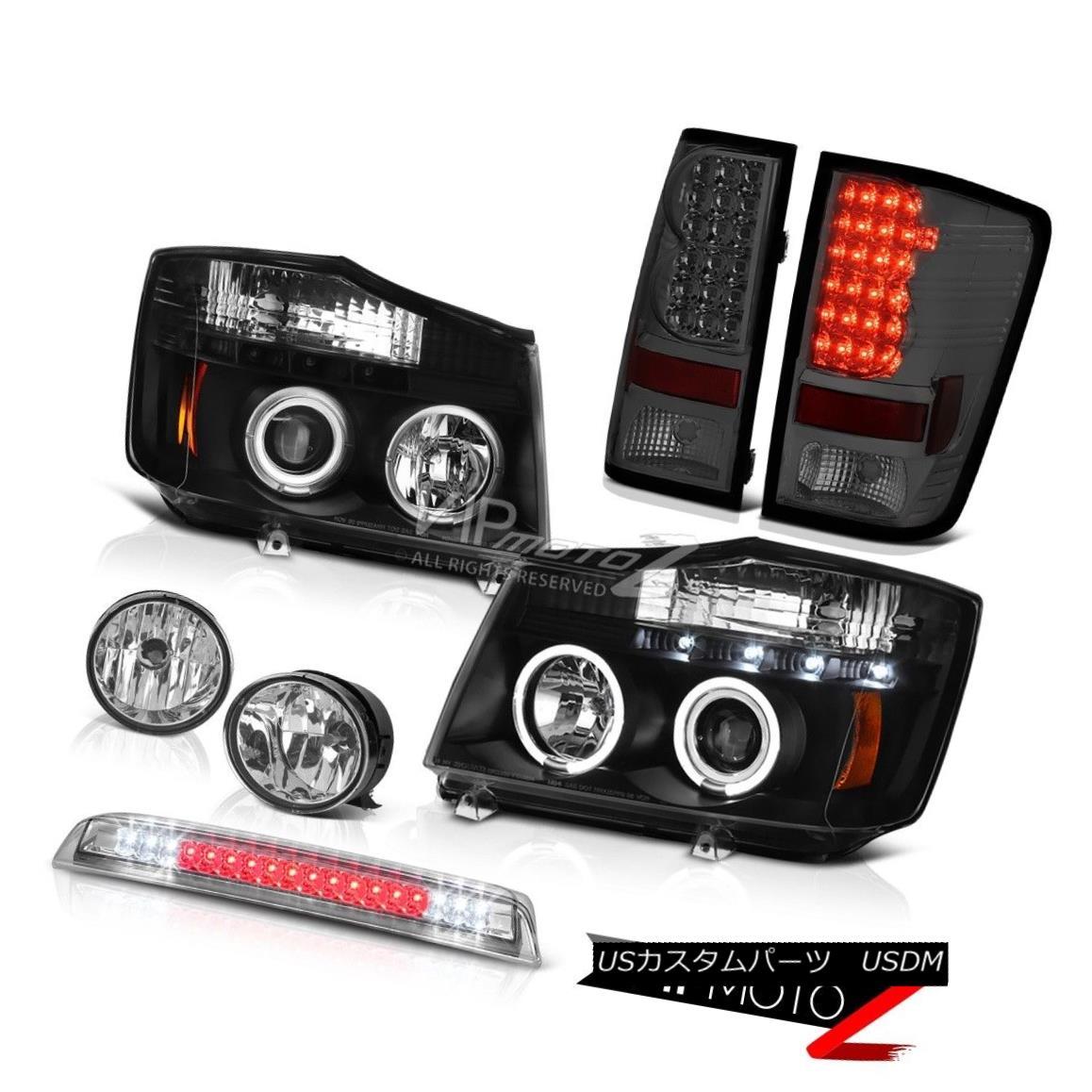 ヘッドライト L+R Set Dual Halo Headlight Tail Lights Chrome Fog High Stop LED For 04-15 Titan L + Rデュアルハローヘッドライトテールライトを設定する04-15タイタン用クロームフォグハイストップLED