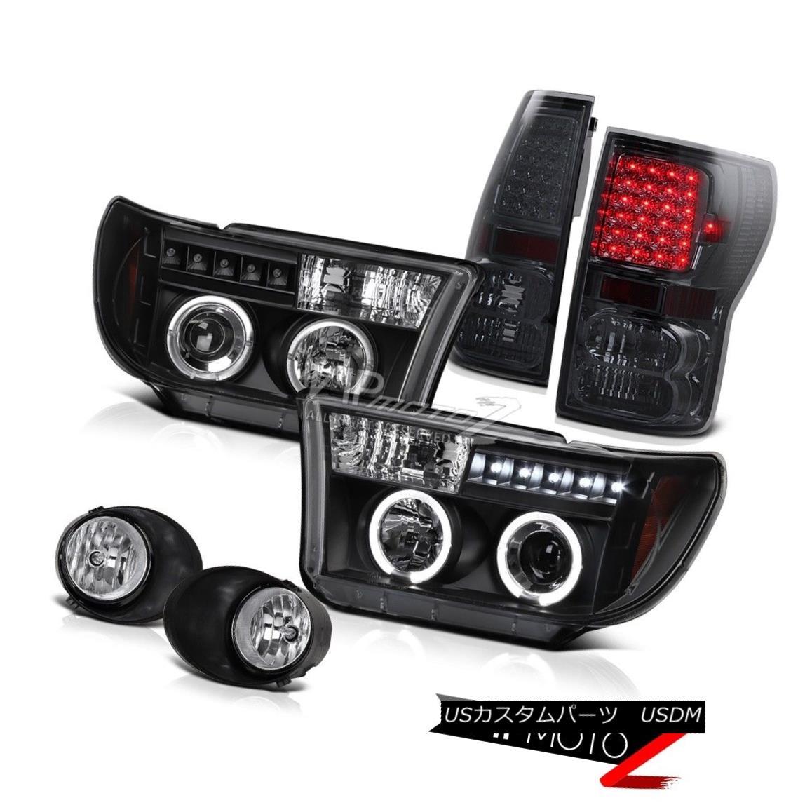 ヘッドライト Toyota Tundra 07-13 Black Halo Projector Headlight+Led Tail Light+Fog Lamp トヨタトンドラ07-13ブラックハロープロジェクターヘッドライト+テールライト+フォグランプ