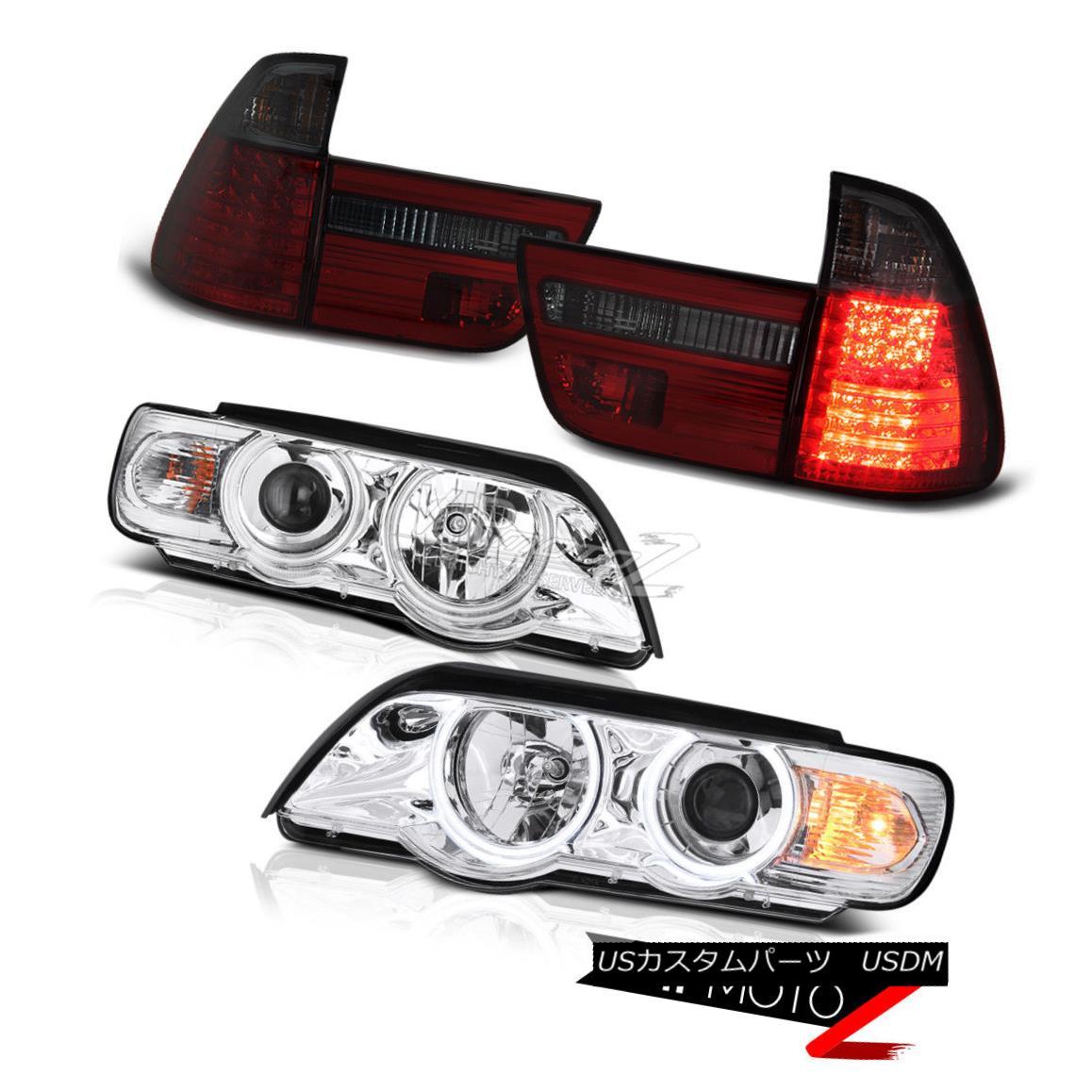 ヘッドライト BMW E53 X5 01-03 Chrome Halo Projector LED Headlight+Smoke/Red Tail Light Lamp BMW E53 X5 01-03クロームハロープロジェクターLEDヘッドライト+スモーク e /レッドテールライトランプ