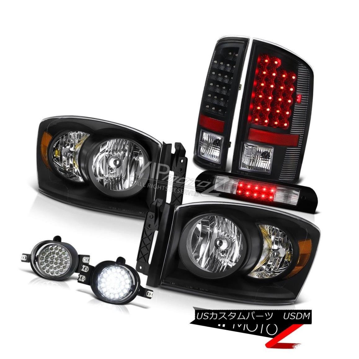 ヘッドライト Raven Black Headlamps Bright LED Taillight Foglamp Third Brake 2006 Dodge Ram WS Raven BlackヘッドランプBright LED Taillight Foglamp第3ブレーキ2006 Dodge Ram WS