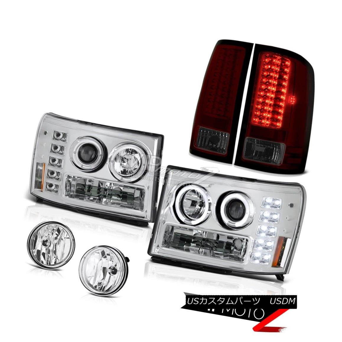 ヘッドライト 2007-2013 GMC Sierra Vortec Crystal Halo LED Headlights Wine Red Tail Light Fog 2007-2013 GMC Sierra VortecクリスタルハローLEDヘッドライトワインレッドテールライトフォグ