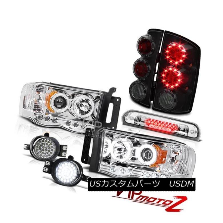 ヘッドライト 2002-2005 Ram V8 Halo CCFL Headlamps Sinister Black LED Tail Light Fog Roof Stop 2002年?2005年Ram V8 Halo CCFLヘッドランプ不審な黒LEDテールライトフォグ屋根停止