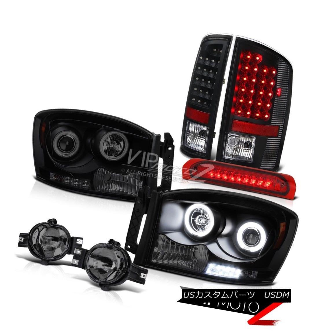 Dodge 02-05 Ram 1500//2500 Black Headlights+Smoke LED Tail Lamps+LED 3rd Brake