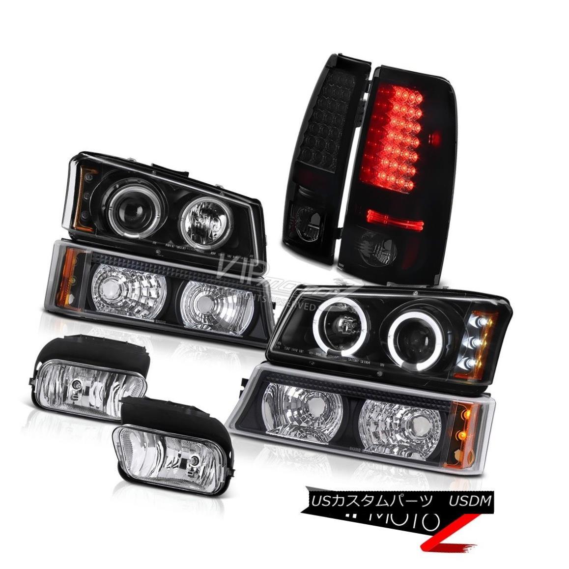 ヘッドライト Black Halo LED Headlights Turn Signal Tail Lights Foglight 03-06 Chevy Silverado ブラックハローLEDヘッドライト信号テールライトを回すFoglight 03-06 Chevy Silverado