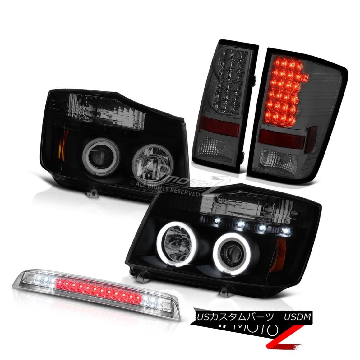 ヘッドライト CCFL Projector Headlight Smoke Tail Light LED High Brake For 2004-2015 Titan 4X4 CCFLプロジェクターヘッドライト煙テールライトLEDハイブレーブ2004-2015タイタン4X4用