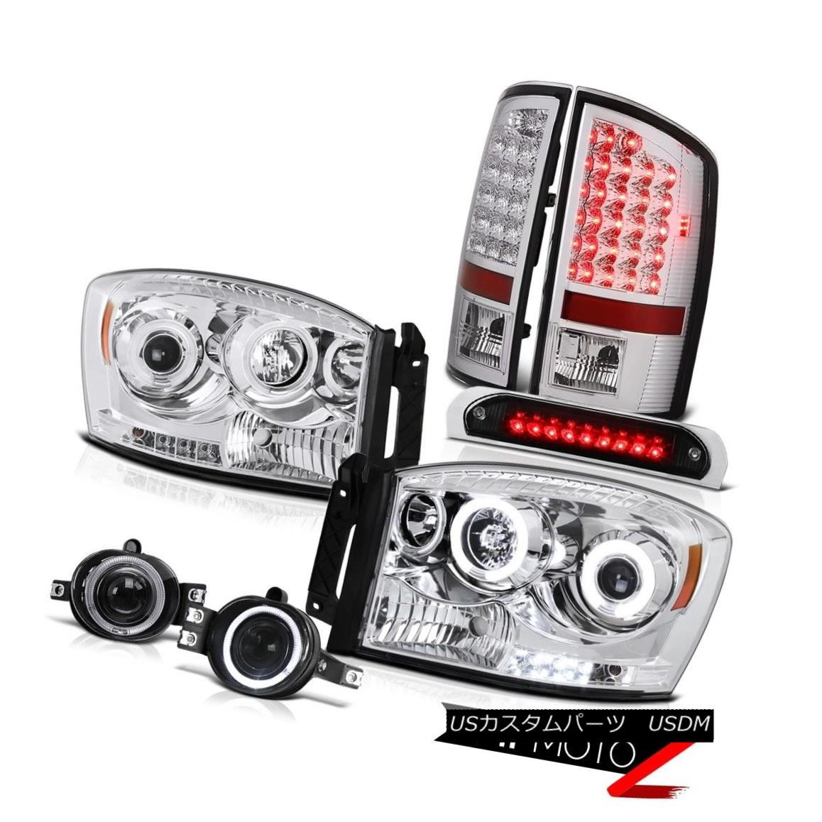 ヘッドライト Fluorescence Halo Headlights LED Brake Taillamps Glass Fog Black 3rd 06 Ram 2500 蛍光HaloヘッドライトLEDブレーキTaillamps Glass Fog Black 3rd 06 Ram 2500